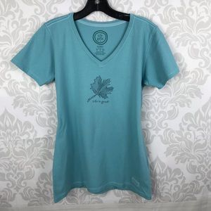 Life Is Good Blue Leaf Tee Shirt Top